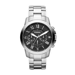 Fossil Men's Grant Quartz Stainless Steel Chronograph Watch Color: Silver (Model: FS4736IE)