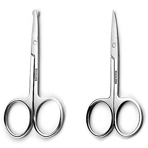 Precision Safety Trimming Scissors For Men - Moustache, Nose Hair & Beard Trimming Scissors, And Ear Hair,Safety Use For Woman Eyebrows,Eyelashes,- Professional Stainless Steel Scissors Set
