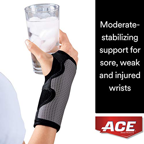 ACE Splint Wrist Brace, Reversible, One Size Adjustable, America's Most Trusted Brand of Braces and Supports, Money Back Satisfaction Guarantee