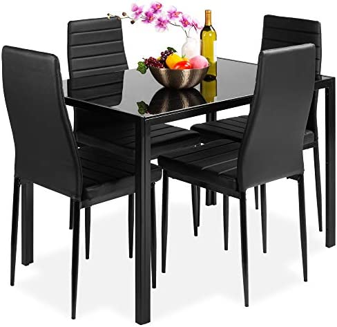 Best Choice Products 5-Piece Kitchen Dining Table Set for Dining Room, Kitchen, Dinette, Compact Space w/Glass Tabletop, 4 Faux Leather Metal Frame Chairs – Black