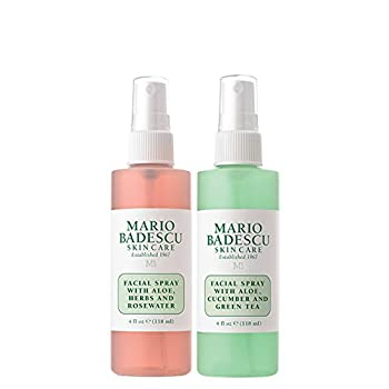 This set includes (1) 4 Oz Bottle of Our Facial Spray with Aloe, Herbs and Rosewater and (1) 4 Oz Bottle of Our Facial Spray with Aloe, Cucumber & Green Tea. The Aloe Herbs & Rosewater is a refreshing, hydrating mist to use anywhere anytime. ...