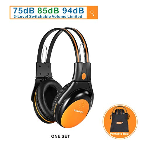 1 Pack of Vehicle Headphone with Adjustable Volume Limiter for Kids, Dual Channel Car DVD Headsets, Wireless Infrared Headphone for Van, Foldable Cordless Car Headsets, Orange