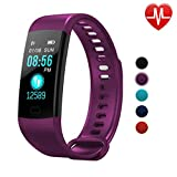 Autoday Fitness Tracker Waterproof Activity Tracker Calorie Counter,Pedometer,Heart Rate Monitor,Sleep Monitor,Reminder Replacement Strap Wristband Sports Band for iOS & Android (Purple)