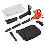 BLACK+DECKER 3-in-1 Electric Leaf Blower & Mulcher with Leaf Vacuum Kit, 12-Amp (BV6000)