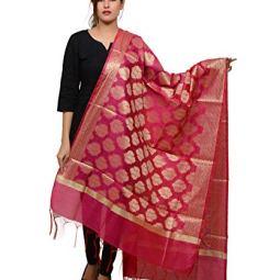 Banjara India Women's Kora Silk Banarasi Dupatta/Chunni [Butta DUP-BNR]