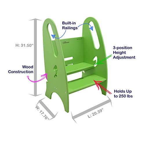 Little Partners Toddler & Adult Step Up Stool | 3-in-1 Adjustable Height Stepstool for Kitchen, Bathroom, or Nursery (Apple Green)
