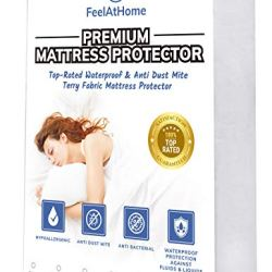 FeelAtHome Hypoallergenic Fitted 100% Waterproof Mattress Protector (Twin XL Size) – Breathable Super Soft & Noiseless Cotton Terry Fabric Matress Protection Fitted Cover
