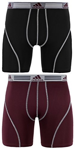 adidas Men's Sport Performance Climalite Boxer Briefs Underwear (2-Pack), Black/Light Onix/Dark Burgundy, Medium/Waist Size 32-34