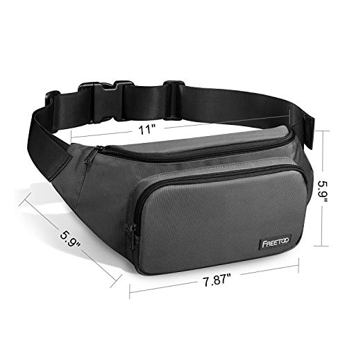 FREETOO Men's Waist Pack with Large Capacity, Waterproof and Wear-Resistant Nylon Fabric Fanny Pack for Phones, Tablets Up to 7.9'', Suitable for Working, Walking, Traveling, Daily Leisure (Gray) deal 50% off 41XUzbpbs3L