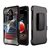 Capsule Case Compatible with T-Mobile Revvl 2 Plus, Alcatel 7 Folio, Alcatel 7 (2018) Metro PCS [Kickstand Holster Combo Heavy Duty Protection Case Black] - (Rock Star)
