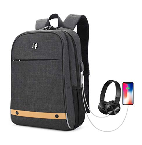 41XWa73CPIL - Hoteon Golden Wolf Laptop Backpack with Rain Cover, Anti-Theft Locker, fits up to 15.6 inches Laptop, USB Port, Earphone Port, Water Resistant, Business and Travel Bag for Men & Women (Dark Grey)