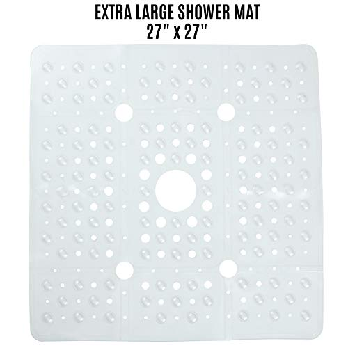 SlipX Solutions Extra Large Clear Square Shower Mat Provides 65% More Coverage & Non-Slip Traction (27' Sides, 100 Suction Cups, Great Drainage)