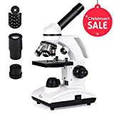 TELMU Microscope 40X-1000X Magnification All-Metal Eyepiece(WF10X/25X) Dual Illumination Handheld Lab Compound Monocular Microscopes with 10 Sliders