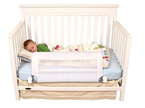 Regalo Swing Down Extra Long Convertible Crib Toddler Bed Rail Guard with Reinforced Anchor Safety System