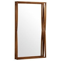 Amazon Brand – Rivet Modern Double-Layer Metal Frame Hanging Wall Mirror, 30 Inch Height, Brass Finish