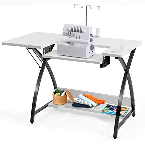 Costway Sewing Craft Table Computer Desk Home Furniture with Adjustable Platform Folding Side Shelf