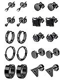 LOYALLOOK 10Pairs Stainless Steel Earrings For Men Tiny Ball Stud Earrings Cartilage Earrings Endless Earrings For Men Boys Black Tone