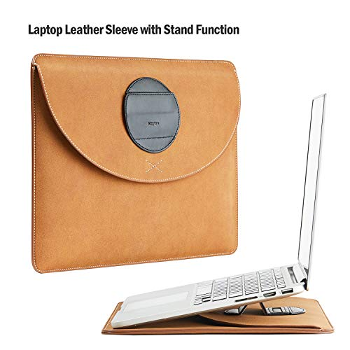Keytas Ultra Slim 15 Inch Laptop Sleeve Case Cover Genuine Leather Protective Bag with Stand Function, for 15' MacBook Pro Retina/MacBook Pro TouchBar 2016 2017 2018, 14 Inch Ultrabook Case Brown