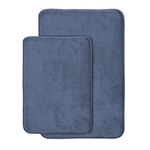 AOACreations Non Slip Memory Foam Bathroom Bath Mat Rug 2 Piece Set, Includes 1 Large 20' x 32' and 1 Small 17' x 24' (Blue Grey)