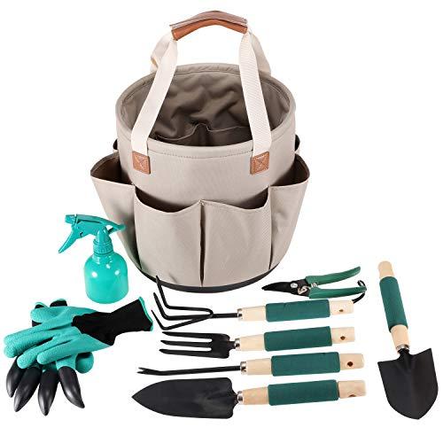 Garden Tools Set | Gardening Gifts | Gardening Tools Set | 9 Piece Garden Tool Set | Digging Claw Gardening Gloves Succulent Tool Set | Planting Tools | Gardening Supplies Basket | Rake Gloves