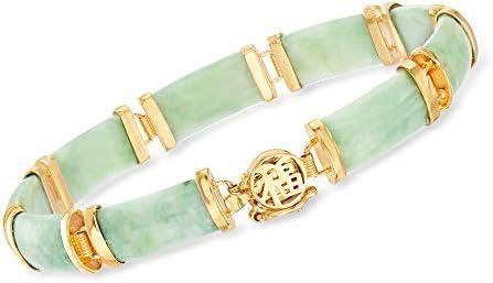 """Ross-Simons Green Jade""""Good Fortune"""" Bracelet in 18kt Gold Over Sterling"""