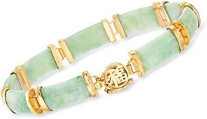 "Ross-Simons Green Jade""Good Fortune"" Bracelet in 18kt Gold Over Sterling"