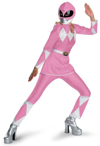 Disguise Unisex Adult Deluxe Power Ranger, Pink/White, Large (12-14) Costume