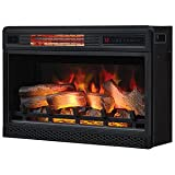 ClassicFlame 26' 3D Infrared Quartz Electric Fireplace Insert Plug and Safer Sensor, Black
