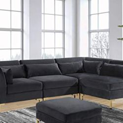 Iconic Home Girardi Modular Chaise Sectional Sofa Velvet Upholstered Solid Gold Tone Metal Y-Leg with 6 Throw Pillows…