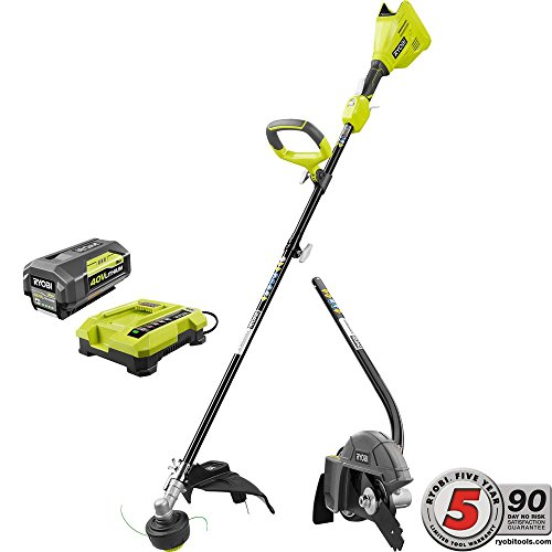 Ryobi Expand-It 40-Volt Lithium-Ion Cordless String Trimmer Combo Kit with Edger Attachment 3.0 Ah Battery, Charger Included