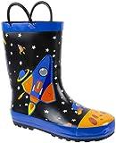 Rainbow Daze Kids Rain Boots Spaceship,Astronaut Galaxy Print,Waterproof 100% Rubber,Little Kid Size 13/1, Black Blue