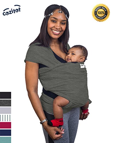 Slate Grey Baby Sling Carrier Wrap by Cozitot | Medium Stretch, Baby Carrier | Baby Wrap Sling | Small to Plus Size Baby Sling | Nursing Cover | Best Baby Shower GIF