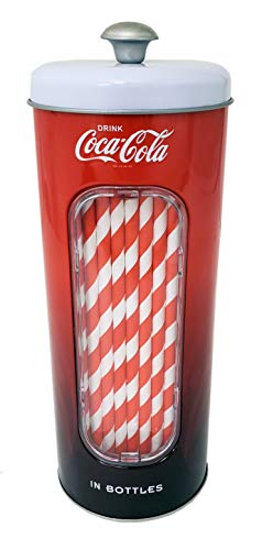 The Tin Box Company Coke Holder Tin with 20 Paper Straws Coca Cola, Red