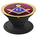 Masonic Square and Compass Red and Yellow Freemason Symbol - PopSockets Grip and Stand for Phones and Tablets