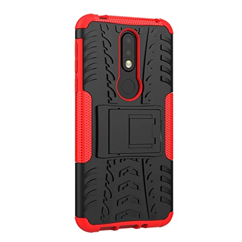 Soezit Military Graded Heavy Kickstand Back Phone case Rugged Shock Proof Anti-Wrestling Travel Essential Phone Accessories for Nokia 7.1 (Red) 4