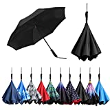 BAGAIL Double Layer Inverted Umbrellas Reverse Folding Umbrella Windproof UV Protection Big Straight Umbrella for Car Rain Outdoor with Straight Handle(Black)