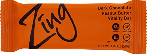 Zing Nutrition Bar, Dark Chocolate Peanut Butter, (Pack of 12), Snack Bar for Optimum Energy, Gluten & Soy Free, Whey Protein, Vegetarian