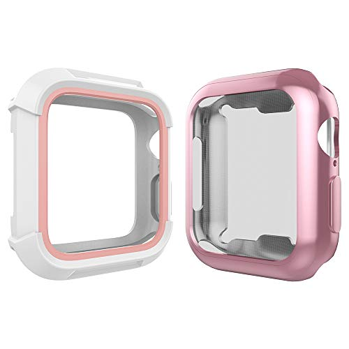 For Apple Watch 38mm Case, Toward Rugged Shock Proof Bumper Cover with Soft TPU Screen Protector Case for Apple Watch 38mm Series 3, Series 2, Series 1 (White Pink Case + Rose Gold Case)