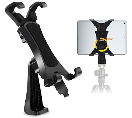 360 Degree Rotatable Break-Resistant iPad Tripod Mount Adapter, Universal Tablet Clamp Holder Fits Ipad, Ipad Air, Mini, Microsoft Surface, Nexus, For Tripod Monopod, Selfie Stick,Tabletop Stand