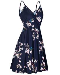 Women's V Neck Floral Spaghetti Strap Summer Casual Swing Dress