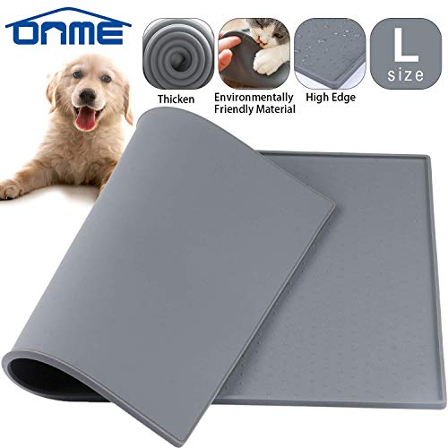ONME Dog Feeding Mat, FDA Grade Silicone Waterproof Pet Food Mat, Non Slip Dog Bowl Placemat 1