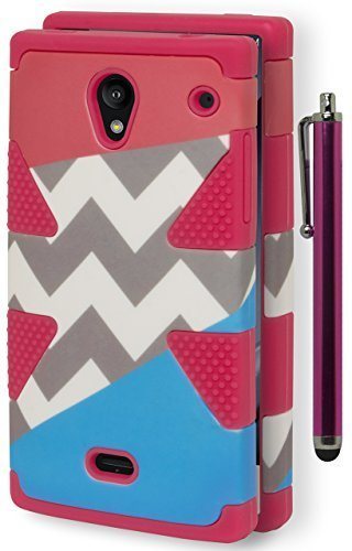 Aquos Crystal Case, Bastex Heavy Duty Hybrid Dynamic Protective Case - Soft Pink Silicone Cover Hard Tri Spit Pink/Chevron/Blue Design Case for Sharp Aquos Crystal 306SHINCLUDES STYLUS
