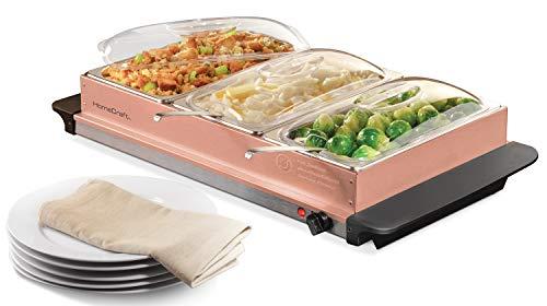 HomeCraft BSC25 3-Station 2.5-Quart Buffet Server & Warming Tray - Copper