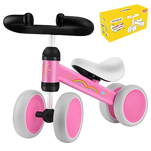 Verkstar Baby Balance Bike Infant Mini Bicycle Toddler Trike, No Foot Pedal 10-24 Months Walker Bike for Children's First Birthday Thanksgiving Gift (Pink)
