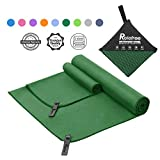 """Relefree Microfiber Towel, 2 Sizes Sports, Travel, Camping Towel, XL(60x30'') & XS(24X15''), Quick Dry, Ultra Absorbent, Suitable for Fitness, Camping (ArmyGreen, Large Set (30x60"""" & 12x24""""))"""