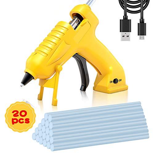Hot Melt Glue Gun Cordless, AONOKOY USB Rechargeable Mini Glue Gun Portable with 20pcs Glue Sticks(7x150mm) for Craft DIY, Arts & Home and Quick Repairs