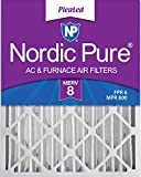 Nordic Pure 20x25x4 (3-5/8 Actual Depth) MERV 8 Pleated AC Furnace Air Filter, Box of 2
