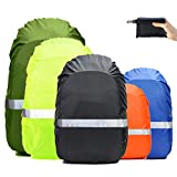 Frelaxy Hi-Visibility Backpack Rain Cover with Reflective Strip 100% Waterproof Ultralight Backpack Cover (Black with Reflective Strip, M (for 25L-35L Backpack))
