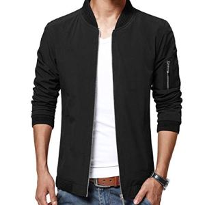 LTIFONE Mens Casual Jacket Zip Up Lightweight Bomber Flight Sportswear Jacket Windbreaker Softshell with Ribbing Edge 10 Fashion Online Shop 🆓 Gifts for her Gifts for him womens full figure