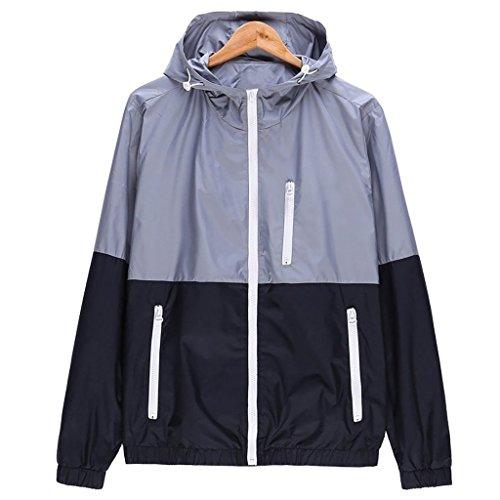 Nantersan Womens Windbreakers Light Weight Outdoor Hooded Sun Protect Windbreaker Sports Outwear Jacket Grey US Size S (Asian Size L)